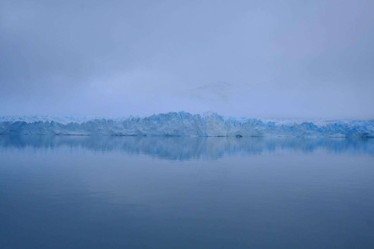 Glacier encountering ocean.