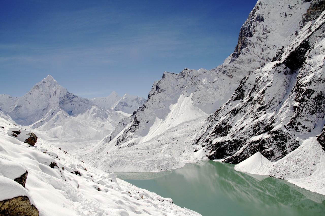 Mountain in winter. Snowy.