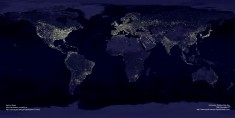 Satellite image of the lights of the world. Where human beings live. Almost.