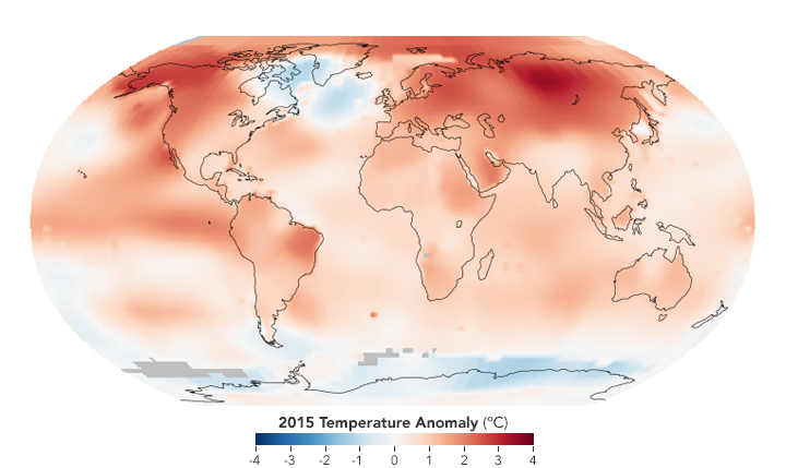 2015 Was the Hottest Year on Record : Image of the Day. Global warming