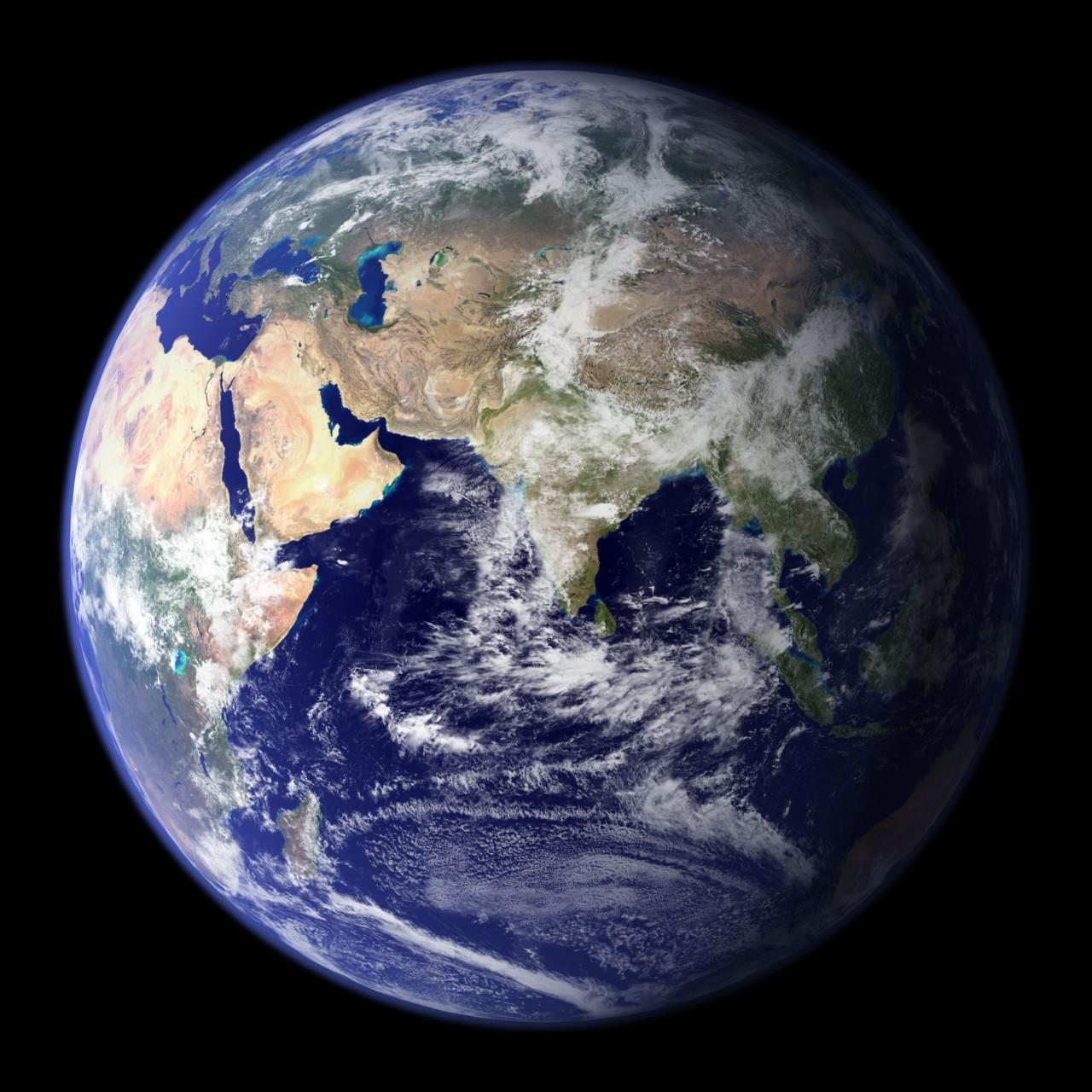 Eastern hemisphere satellite image