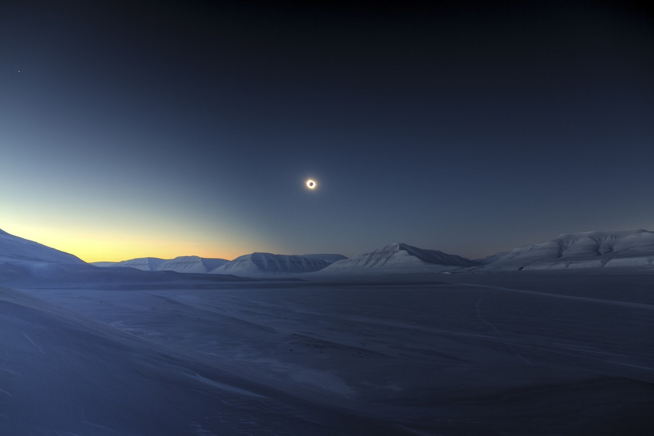 Eclipse Totality over Sassendalen, Spitsbergen, Svalbard