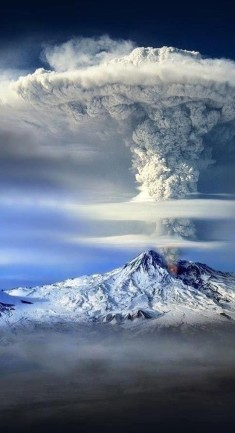 Eruption of volcano Ararat, Turkey