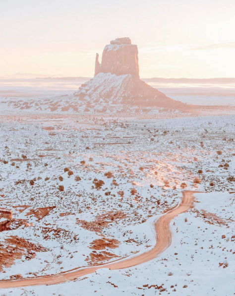 Monument Valley under the snow, AZ, USA