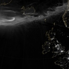 Northern lights above Northern Europe