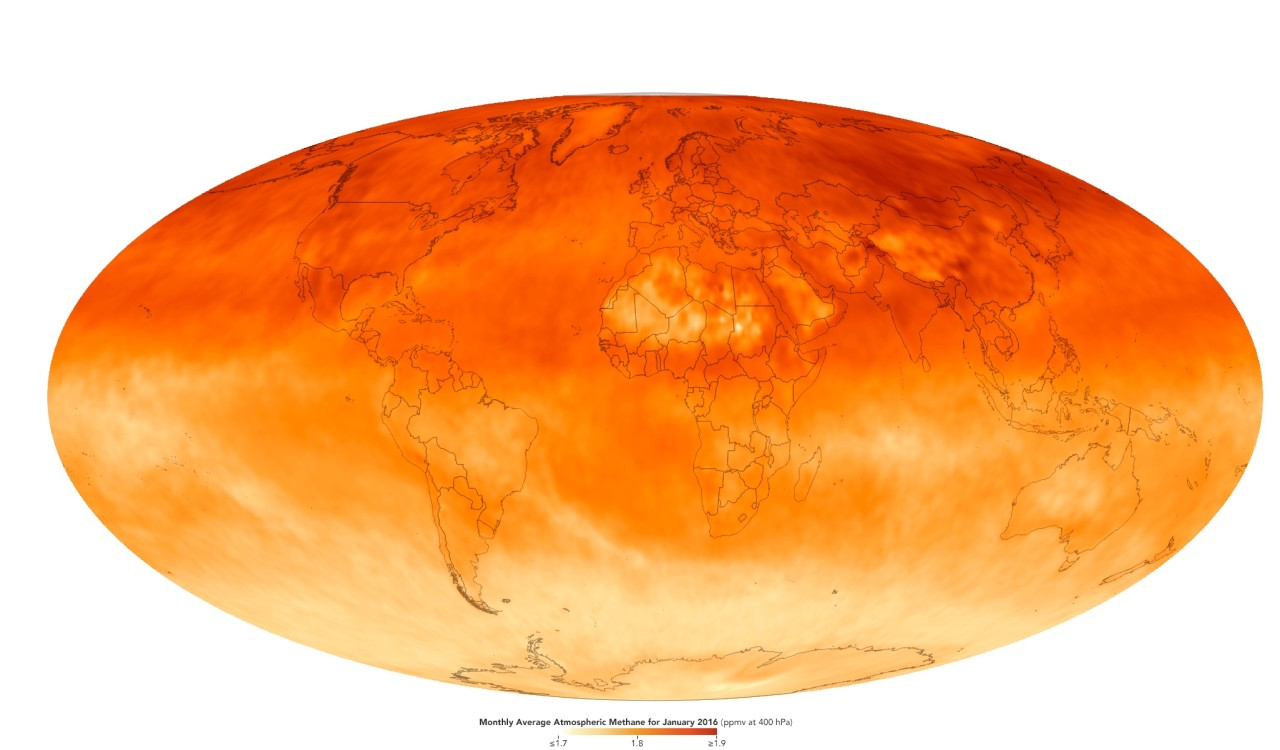 Methane concentration in the world atmosphere, january 2016