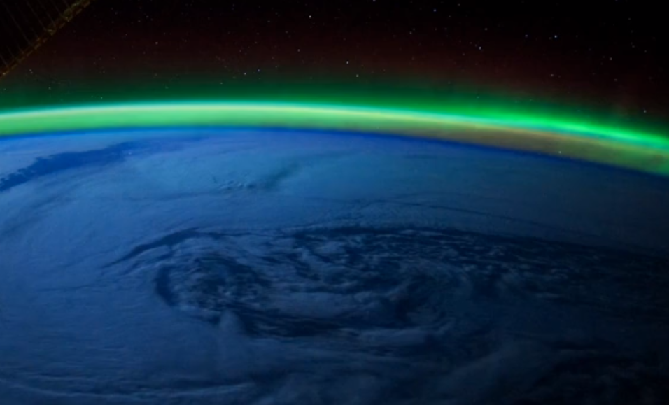 4K video of amazing aurora borealis view from space