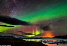 Northern lights, volcano and Milky Way in Iceland