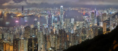 Hong Kong skyline, by night