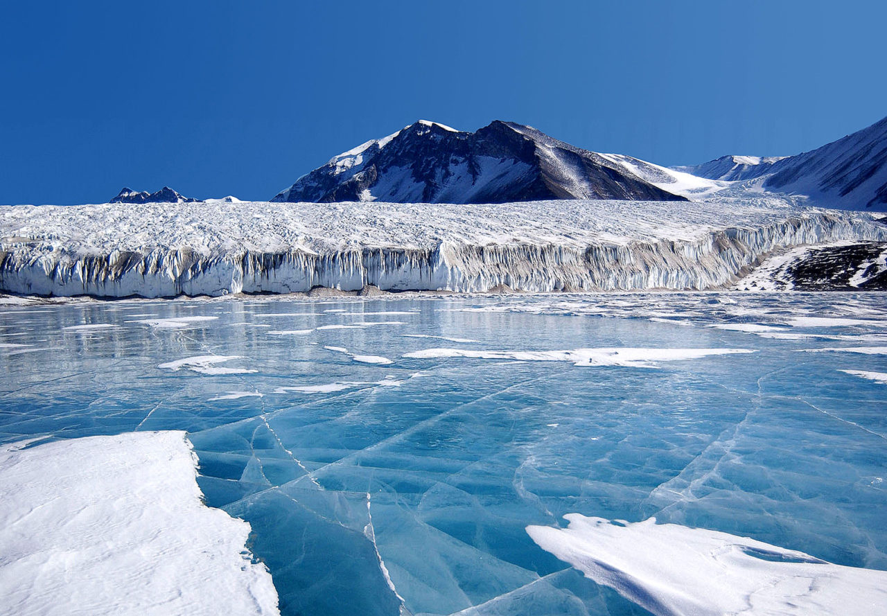 Blue ice covering the Fryxell lake, Antarctica.
