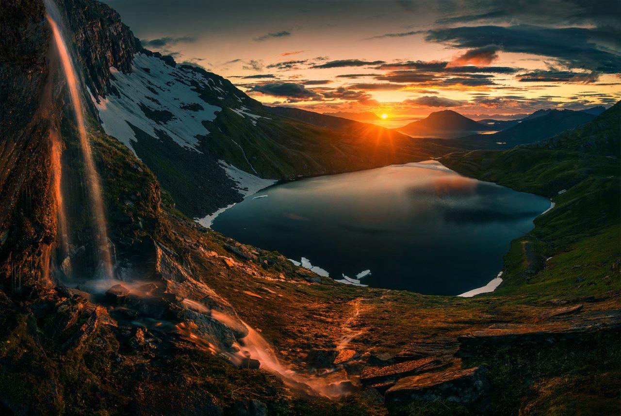 Sunset on the mountain lake