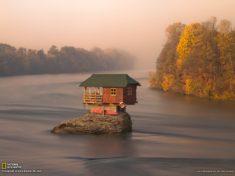 Tiny house on the Drina River, Serbia
