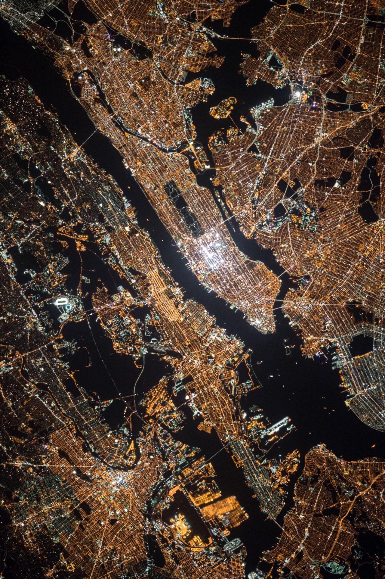 New York by night, by Nasa.