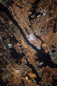 New York by night, by Nasa.