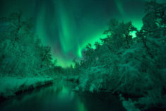 Beautiful northern lights over the river, by Arild Heitmann, Norway
