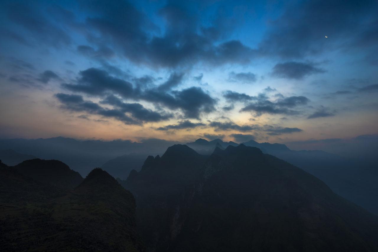 Viet Nam mountains after sunset.