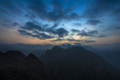 Viet Nam mountains after sunset.