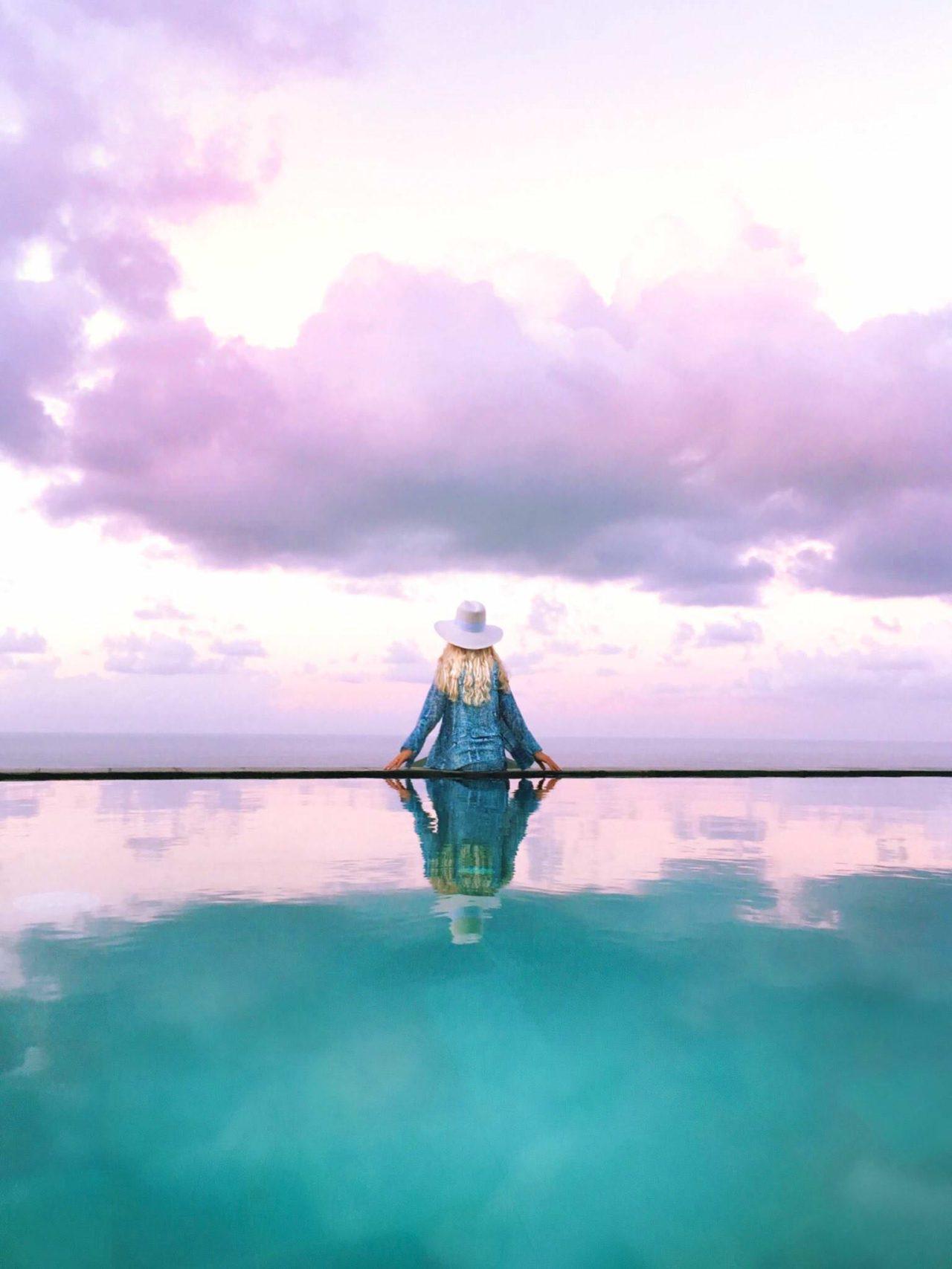 Girl alone, Pandawa Beach, Bali, Indonesia.