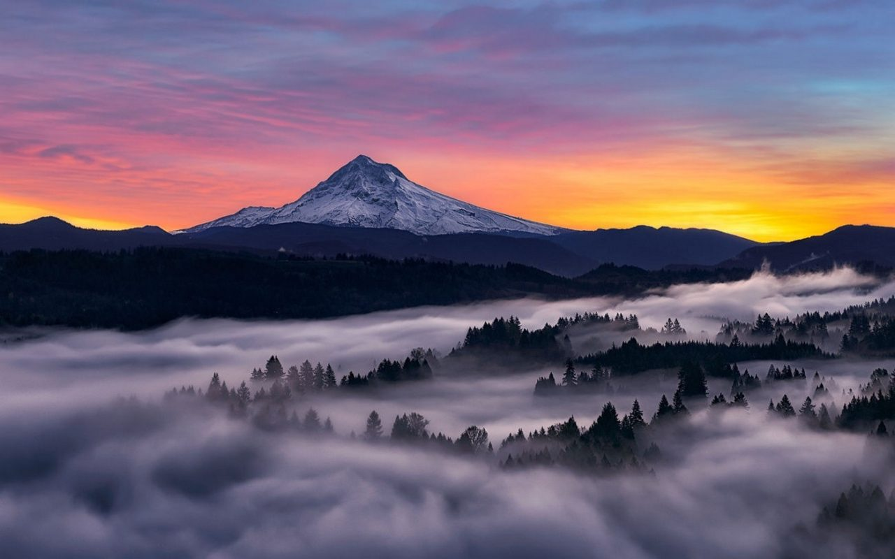 Sunset over majestic mountain