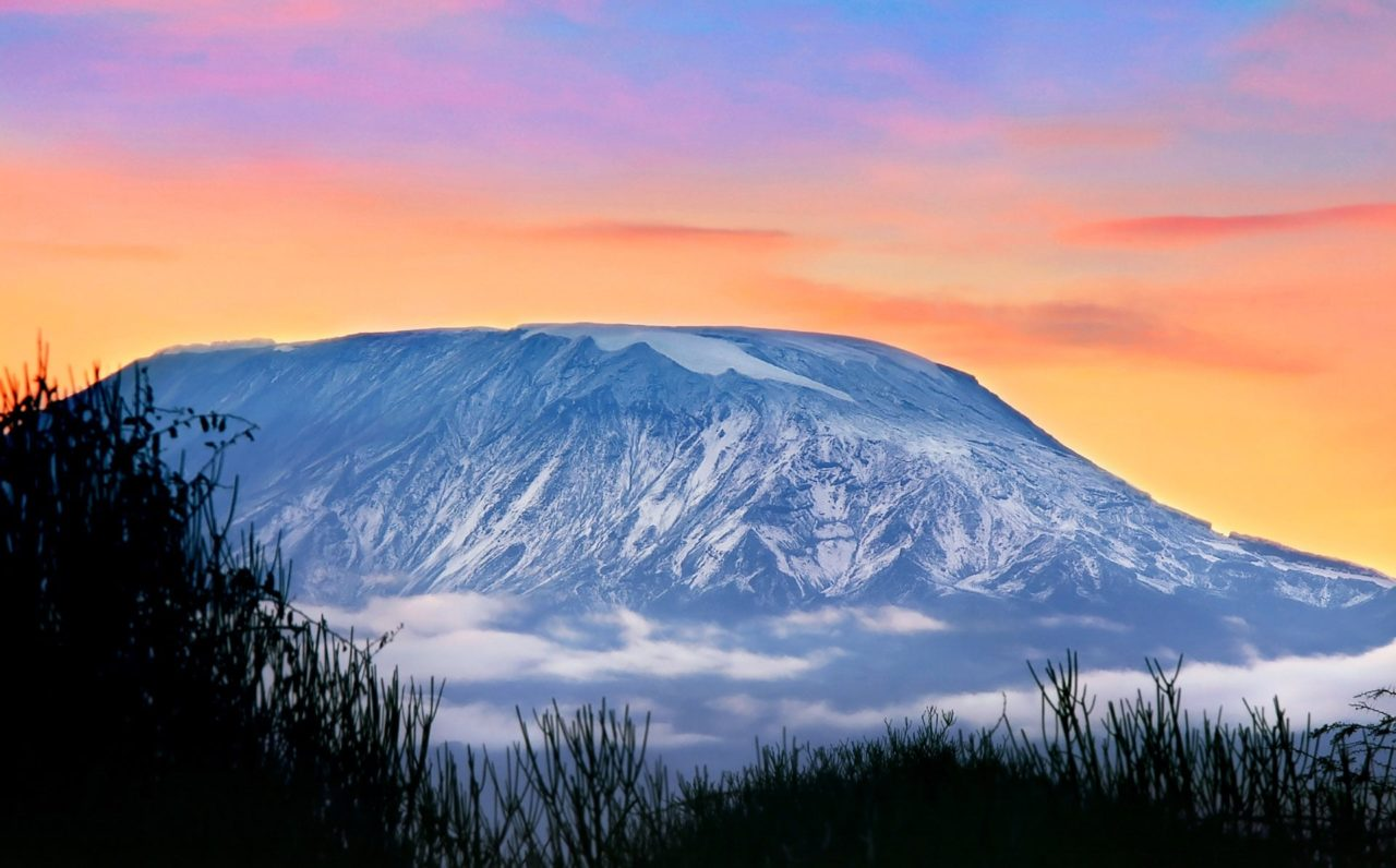 Beautiful sunset on the Mount Kilimanjaro, Tanzania