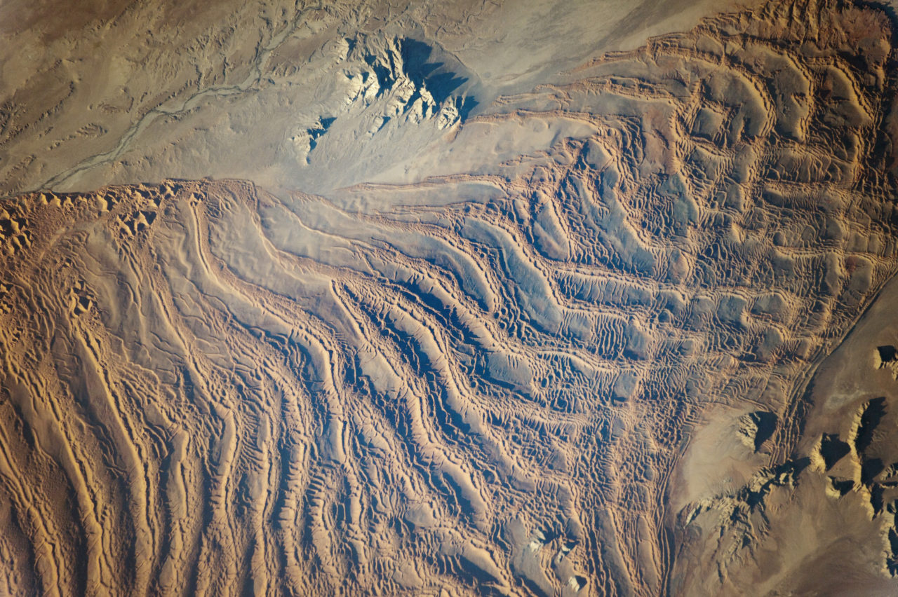 Linear dunes in Namib sand sea, Namibia. Picture: Nasa.