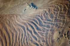 Linear dunes in Namib sand sea, Namibia. Picture: Nasa.