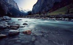 Switzerland river in mountains