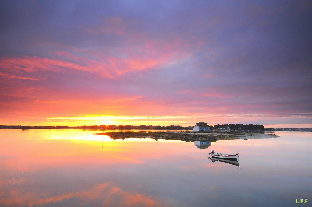 Sunset in Morbihan, Brittany, France