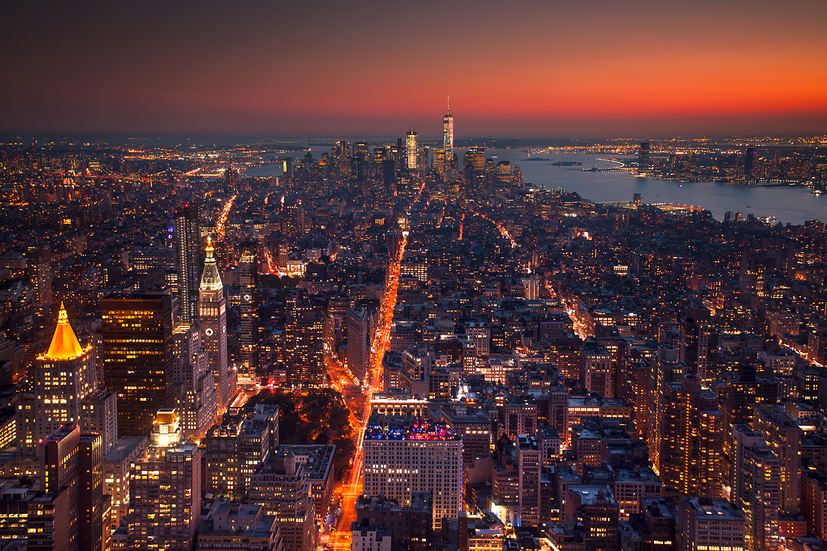 Panoramic view of New York City, from the Empire State Building