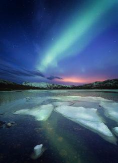 Night landscape from Skarvan og Roltdalen national park, Norway
