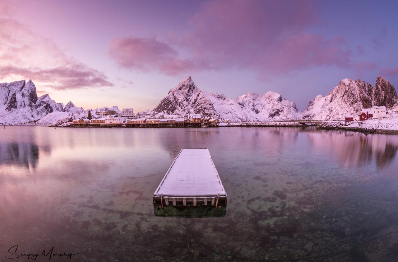 Lonely pier and sunset, Reine, Lofoten, Norway