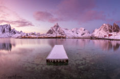 Lonely pier and sunset, Reine, Lofoten, Norway
