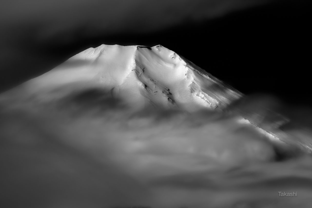 Mount Fuji through the clouds