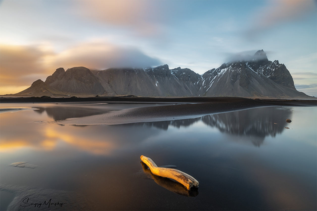 Sunset view on Vestrahorn, Iceland