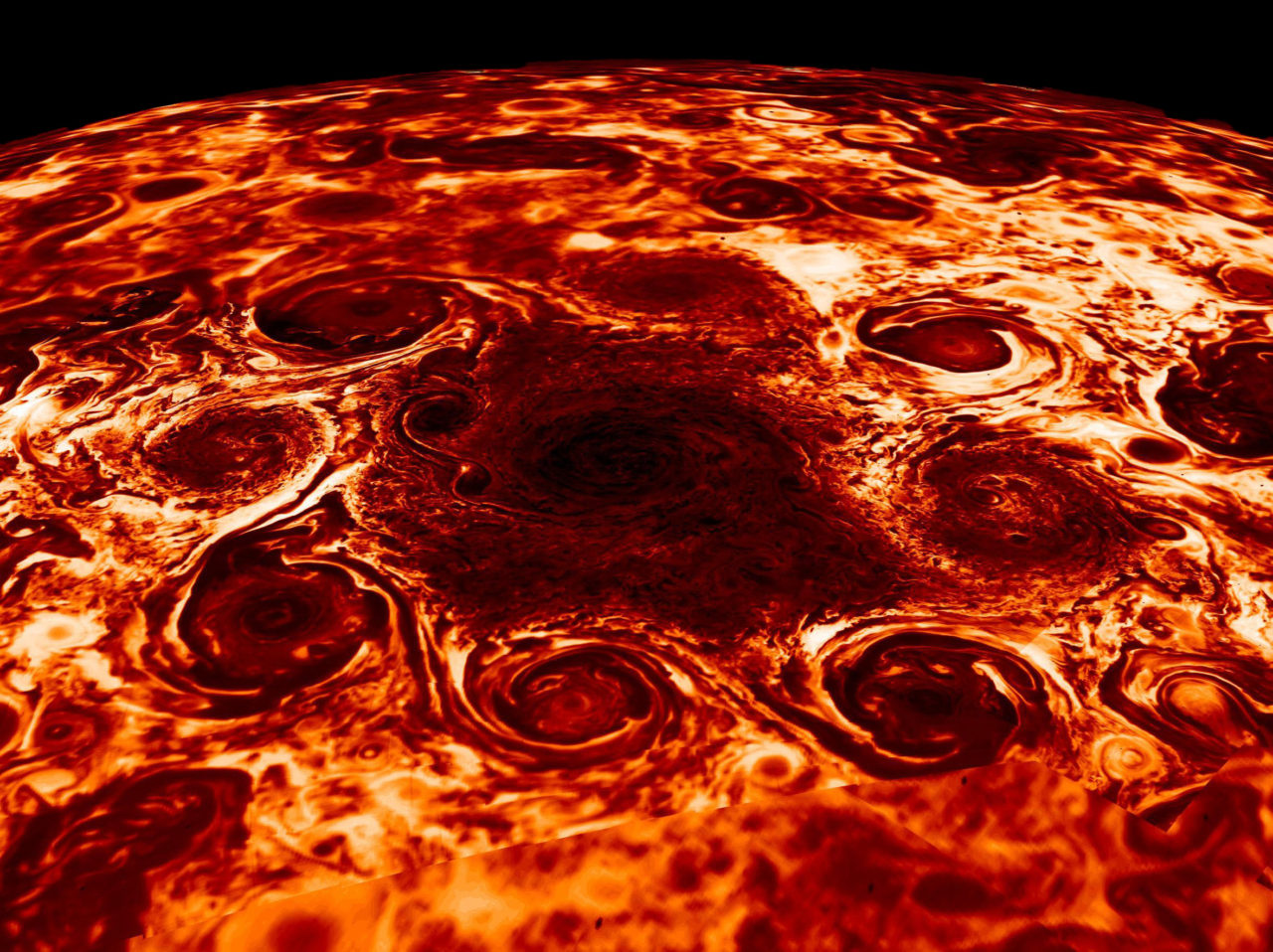 Giant Cyclones at the North Pole of Jupiter – Most Beautiful Picture