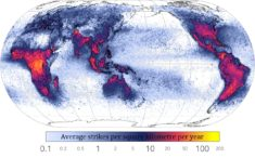 World – Global lightning strikes • Map • PopulationData.net