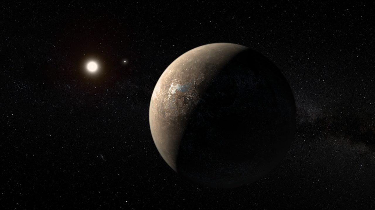 Artist's impression of Proxima Centauri b shown hypothetically as an arid rocky super-earth