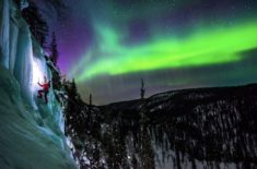 Ice Climbing under the Aurora Borealis – Most Beautiful Picture