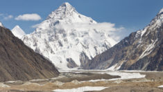 K2 mountain, between China and Pakistan