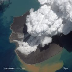 Satellite image of the Anak Krakatoa volcano, Indonesia, January 4, 2019