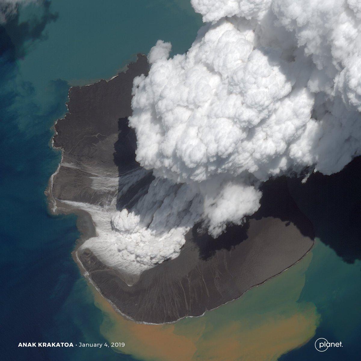 Satellite image of the Anak Krakatoa volcano, Indonesia, January 4, 2019