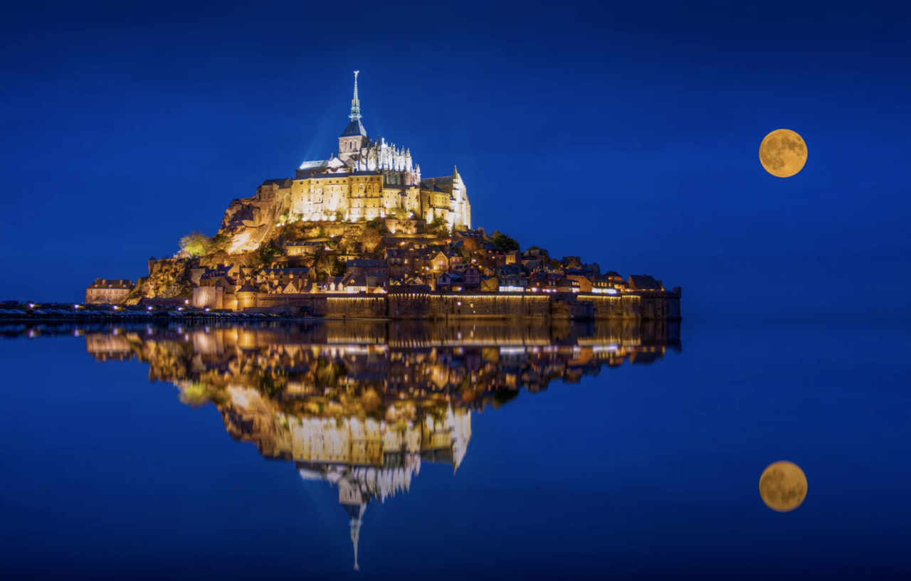 Mont Saint-Michel under the Moon, France – Most Beautiful Picture