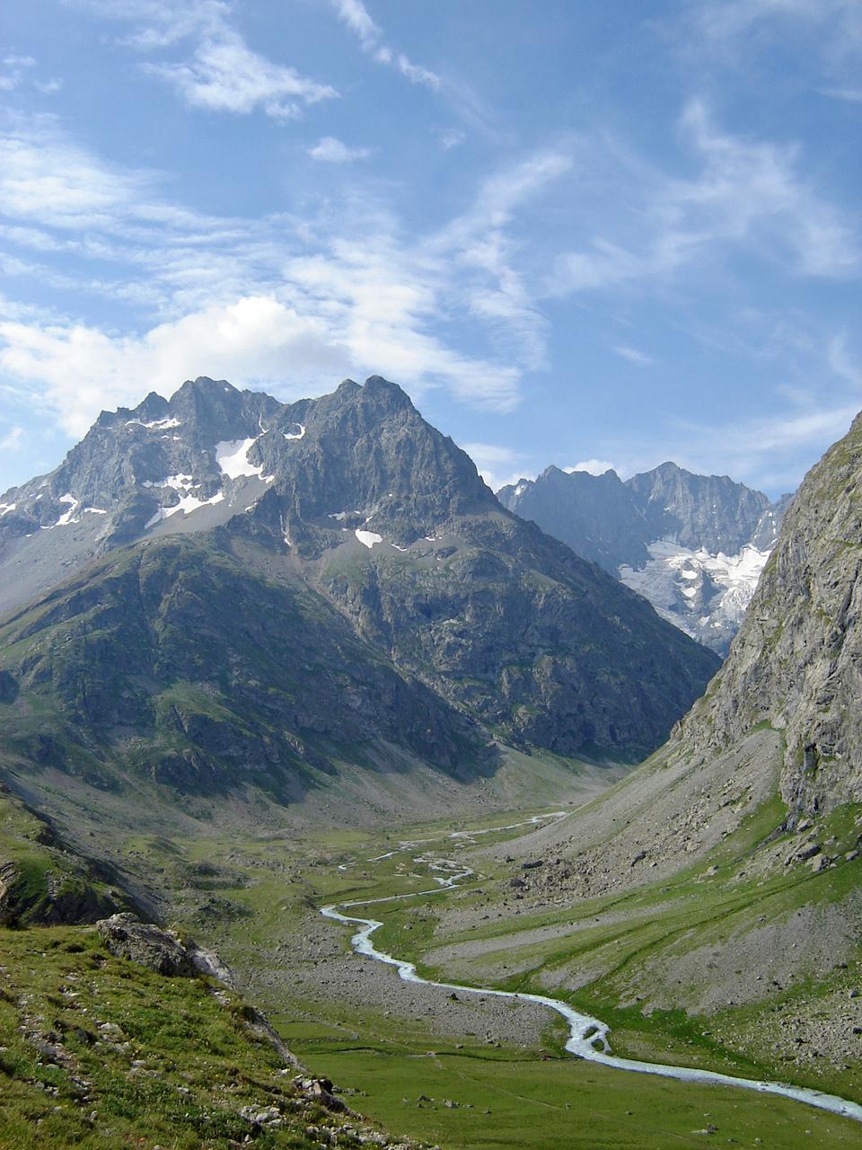Chamoissière Peaks and Romanche River, Écrins national Park, French Alps