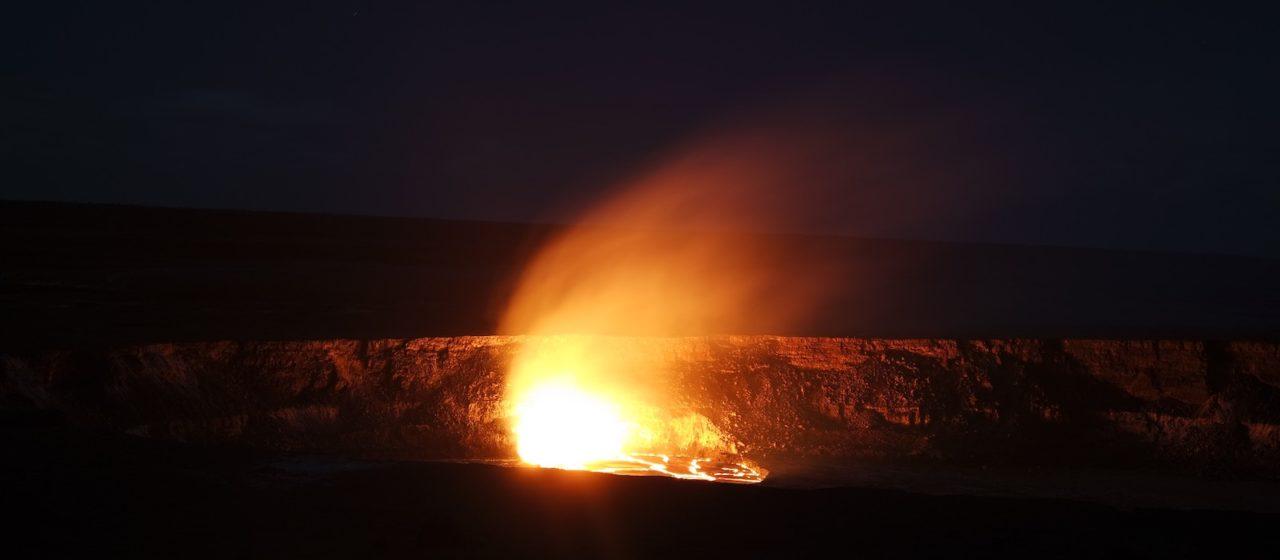 Lava lake at night, Mauna Kea volcano, Hawaii