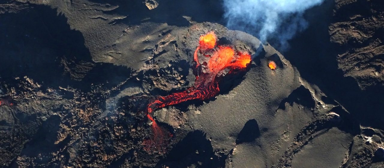 Lava flow aerial view
