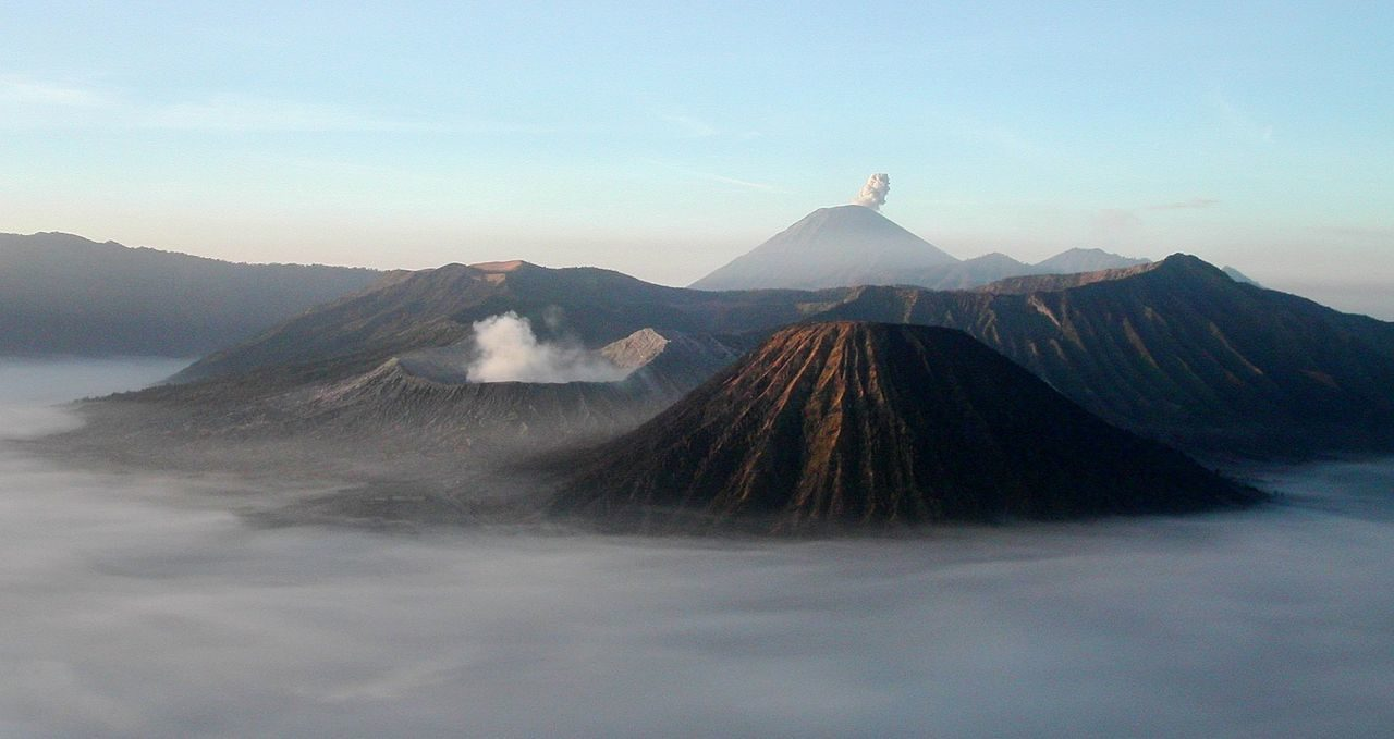 Semeru and Bromo Mountains in East Java, Indonesia