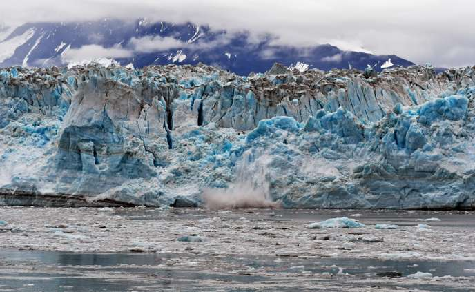 Ice Calving (detachment of an ice mass) on the Hubbard Glacier, Alaska, August 2018