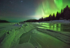 Aurora over the White Sea, Kola, Russia