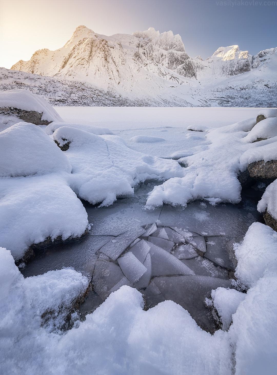 Winter Lake Storvatnet, Lofoten Islands, Norway