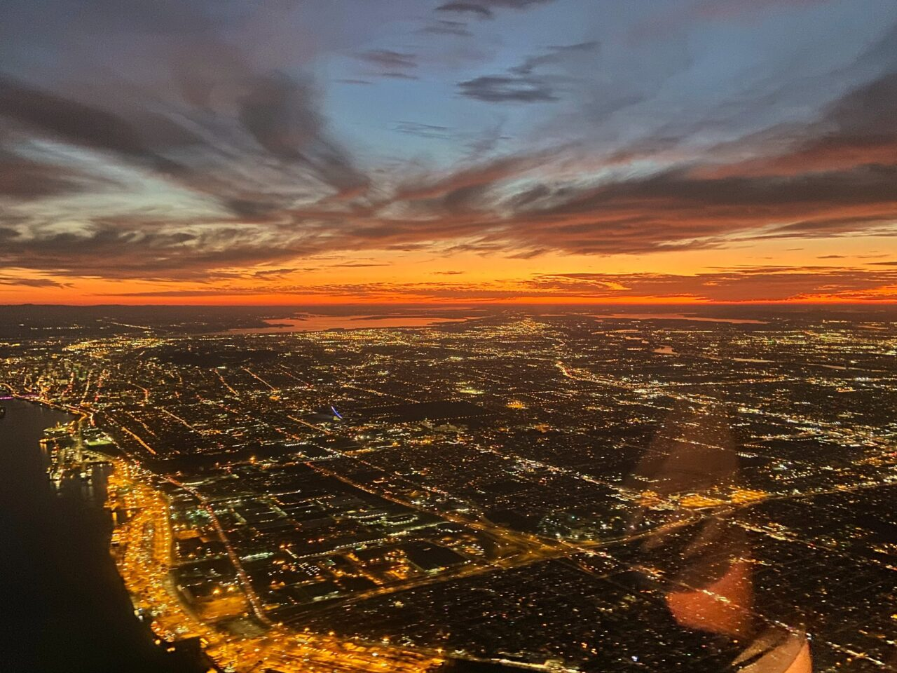 Montreal sunset from the air